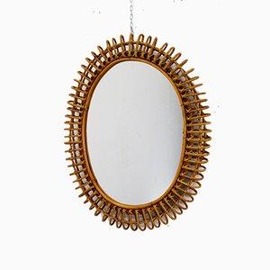 Ovaler italienischer Spiegel mit Rattanrahmen von Franco Albini, 1960er