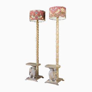 Rosewood Elephant Floor Lamps, 1930s, Set of 2
