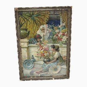 Antiker Girls Druck mit drei Präraffaeliendrucken von William Stephen Coleman
