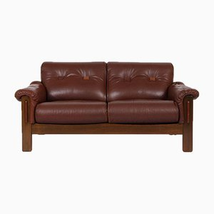 Danish Oak & Brown Leather Sofa, 1960s