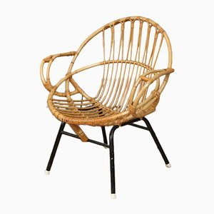 Runder Armlehnstuhl aus Rattan, 1960er