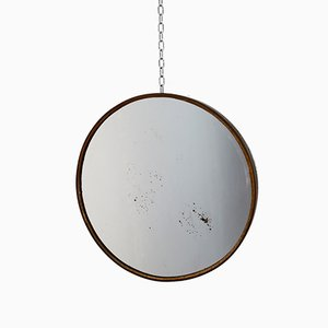 Small Italian Brass Round Mirror, 1960s