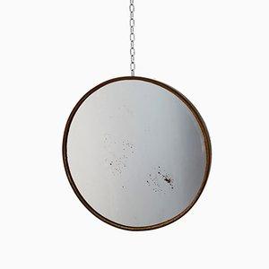 Small Italian Brass Round Mirror, 1960s