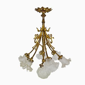 Antique Art Nouveau French Bronze Floral Chandelier, 1900s