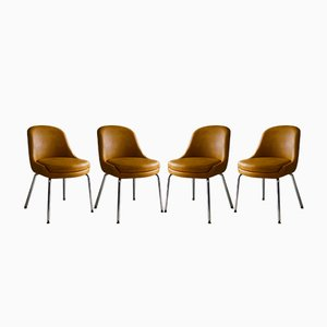 Mid-Century English Vinyl Dining Chairs, 1960s, Set of 4