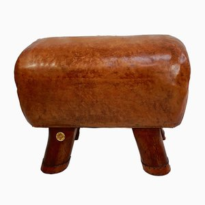 Vintage Leather Pommel Horse Stool from Educational Supply Associates Ltd London, 1940s
