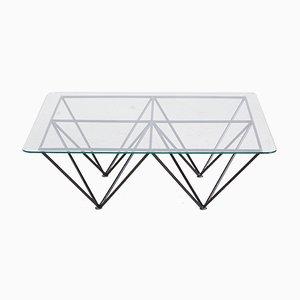 Table Basse Vintage en Verre avec Socle Géométrique, 1970s