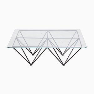 Vintage Glass Coffee Table with Geometric Base, 1970s