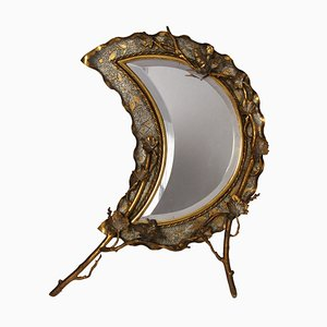 Brass Crescent Moon Table Mirror, 1920s