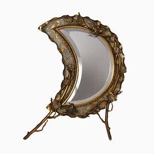 Specchio da tavolo Moon in ottone, anni '20