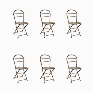Antique Wrought Iron & Steel Folding Chairs, Set of 6
