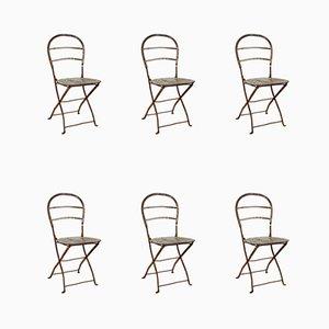 Chaises Pliantes Antiques en Fer Forgé et Acier, Set de 6