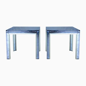 Italian Chrome & Glass Side Tables by Renato Zevi, 1970s, Set of 2