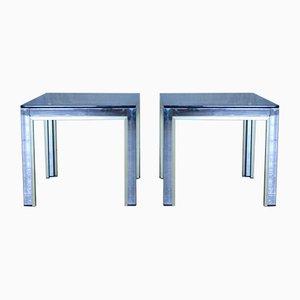 Tables d'Appoint en Chrome et Verre par Renato Zevi, Italie, 1970s, Set de 2