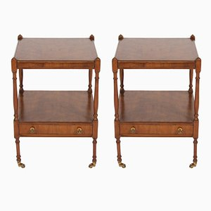 Elm 2-Tier Bedside Tables with Castors, 1920s, Set of 2