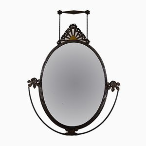Art Deco French Wrought Iron Wall Mirror, 1920s
