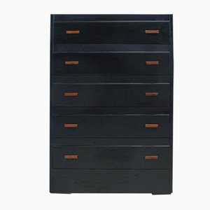 Tall English Black Chest of Drawers, 1960s