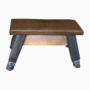 Vintage Leather Pommel Horse Gym Bench, 1950s