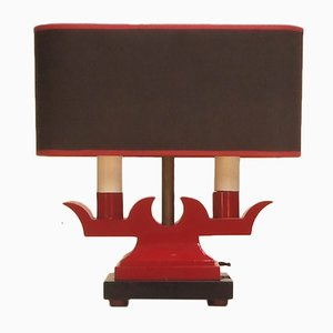 Vintage Red Lacquered Metal Table Lamp