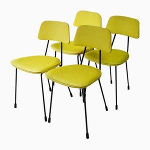 Mid-Century Esszimmerstühle aus gelbem Vinyl, 4er Set