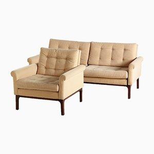 Beige Buttoned Living Room Set, 1960s