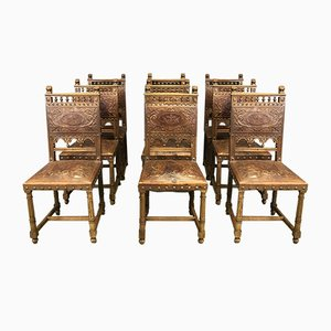 Antique Walnut & Leather Dining Chairs, Set of 9