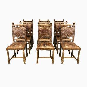 Chaises de Salle à Manger Antique en Noyer et Cuir, Set de 9
