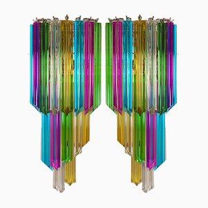 Applique vintage Quadriedri Mariangela multicolore, anni '80, set di 2