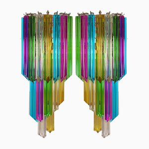 Vintage Multicolored Quadriedri Mariangela Sconces, 1980s, Set of 2