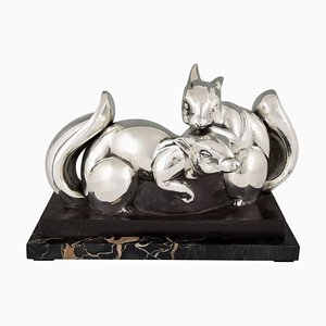 Vintage Art Deco Silvered Bronze Squirrels Sculpture by Jean de la Fontinelle for Jean de La Fontinelle