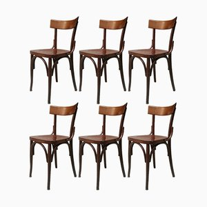 Italian Wooden Tavern Chair, 1960s, Set of 6