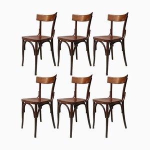 Italienische Kneipenstühle aus Holz, 1960er, 6er Set