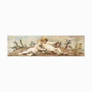 Große italienische Vintage Wandplatte aus Gips mit Engel-Motiv