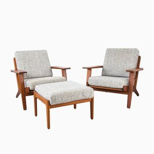 Model GE 290 Teak Set with 2 Lounge Chairs & Ottoman by Hans J. Wegner for Getama, 1960s, Set of 2