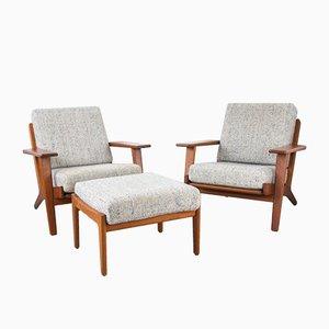 Modell GE 290 Set mit 2 Sesseln & Fußhocker aus Teak von Hans J. Wegner für Getama, 1960er, 2er Set