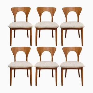 Modell Peter Esszimmerstühle aus Teak von Niels Koefoed für Koefoeds Hornslet, 1960er, 6er Set