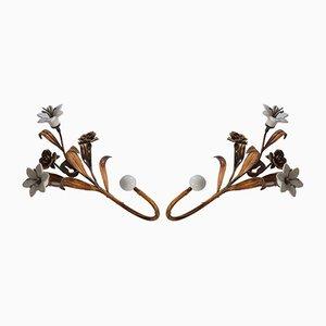 Mid-Century Gilt Metal and White Ceramic Flower Coat Hooks, 1950s, Set of 2