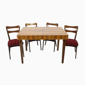 Czechoslovak Dining Table & 4 Chairs Set, 1950s