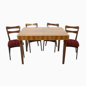 Tavolo da pranzo con quattro sedie, Cecoslovacchia, anni '50