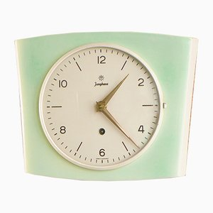 Vintage Green Ceramic Wind-Up Clock from Junghans