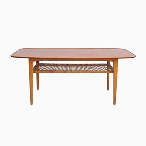 Mid-Century Teak & Ash 2-Tier Coffee Table, 1950s