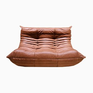 Mid-Century Cognac Leather Togo Loveseat by Michel Ducaroy for Ligne Roset, 1970s