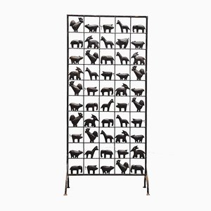 French Wrought Iron Animal Room Divider from Atelier Marolles, 1950s