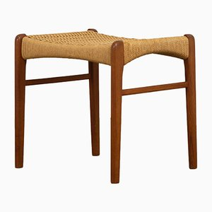 Teak & Paper Cord Stool by Ejner Larsen for Glyngøre, 1960s