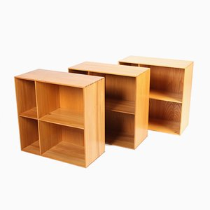 Danish Elm Wall Bookcases by Mogens Koch for Rud. Rasmussen, 1960s, Set of 3