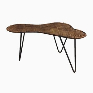 Rattan & Metal Coffee Table by Raoul Guys for Raoul Guys, 1950s