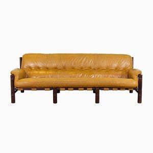Cognacfarbenes Mid-Century Sofa aus geflicktem Leder von Jean Gillon, 1970er