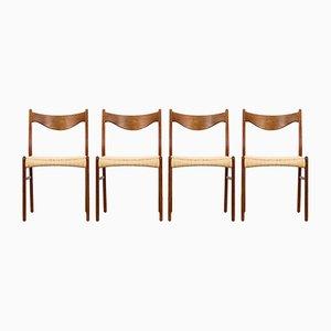 Esszimmerstühle aus Teak & Papierkordel von Ejnar Larsen & Aksel Bender für Glyngøre, 1960er, 4er Set