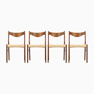 Teak & Paper Cord Dining Chairs by Ejnar Larsen & Aksel Bender for Glyngøre, 1960s, Set of 4