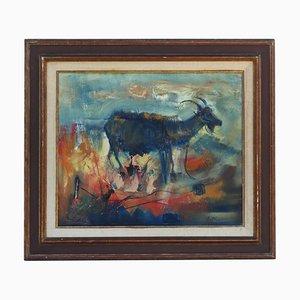 Vintage Le Chevre Oil on Canvas Painting by Joseph Pignon